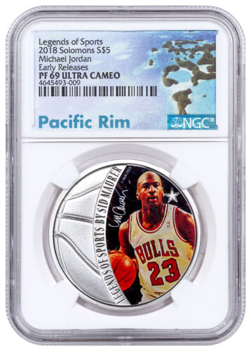 2018 Solomon Legends Sports Michael Jordan 1oz Silver $5 NGC PF69 UC ER SKU51811