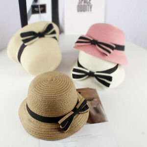 52dc3c8a0 Children Girls Bowknot Lovely Straw Hat Summer Beach Caps Spring ...