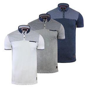 Mens-Polo-T-Shirt-Brave-Soul-Aqua-Printed-Short-Sleeve-Chambray-Collar-Top