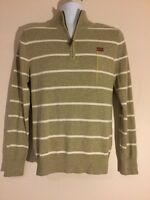 Men Merona Beige Striped Sweater 3/4 Zip Front Size Small