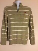 Men Merona Beige Striped Sweater 3/4 Zip Front Size Small