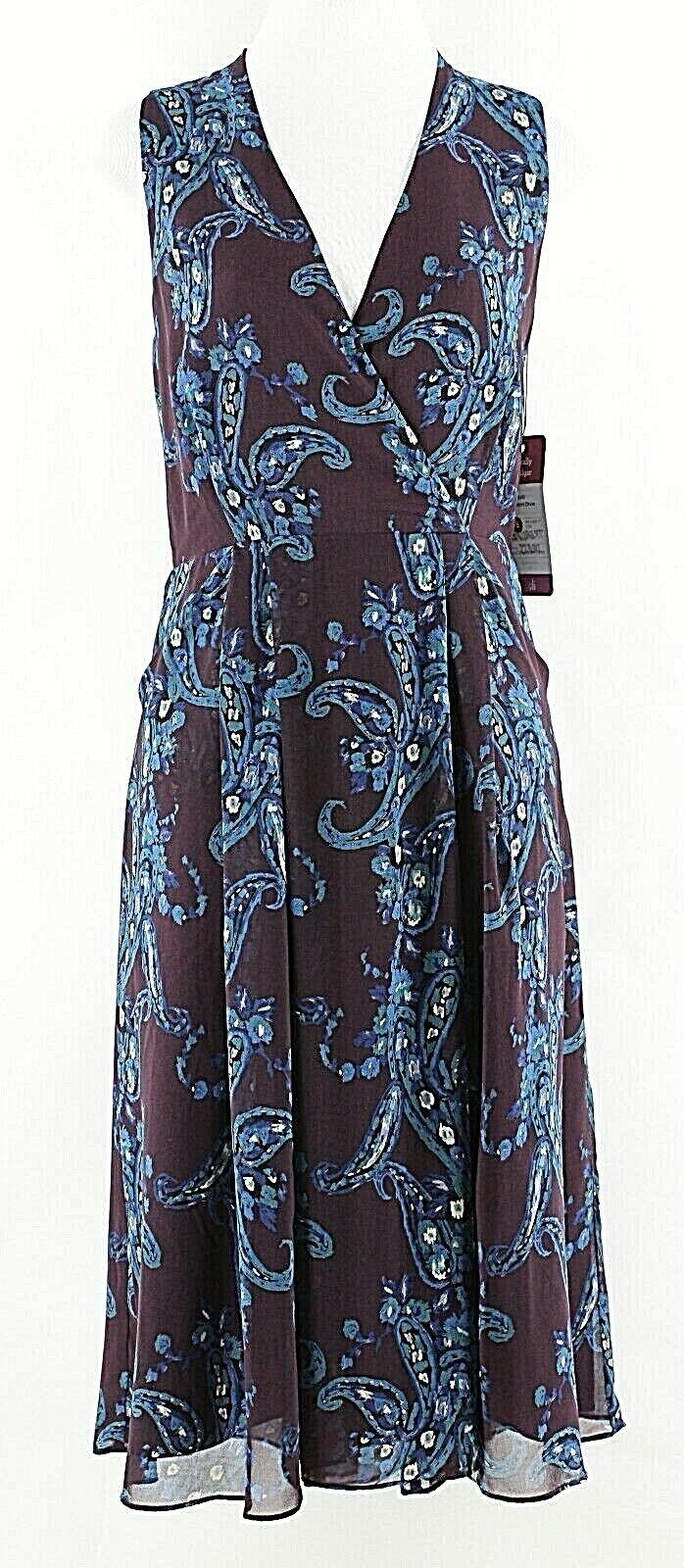 CAbi NEW  8 lila Teal Blau Multi 100% Polyester Faux Wrap Dress I026