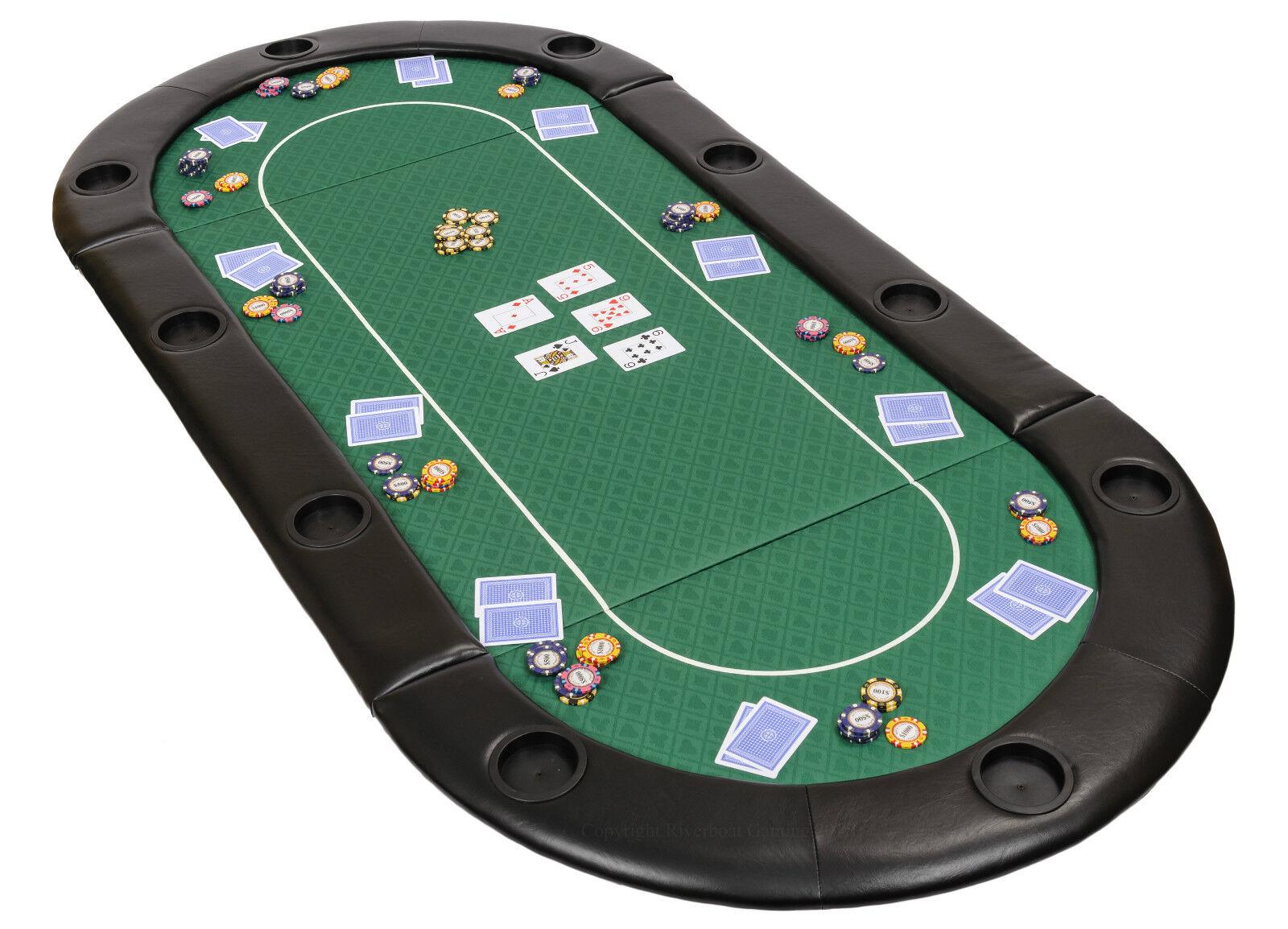 Faltreifen Poker Tisch in Grün Speed Cloth mit Leder Armlehne und Hülle 200cm