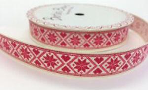Bertie-039-s-Bows-Christmas-Snowflake-Design-16mm-Ivory-Grosgrain-Ribbon-on-3m-Roll