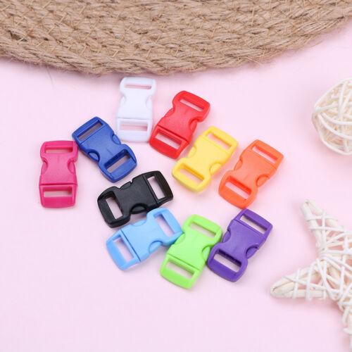 "10 pcs 3//8/"" 10mm Colorful contoured curve quick side release Plastic buckle GQ"