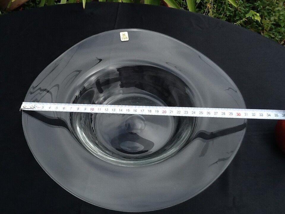 GROSSE GROSSE GROSSE XXL EISCH Glas SCHALE geschwungene Form  Ø 31 cm 74ca0c