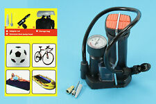 Benson Profi Mini Fußpumpe Fahrradpumpe Bar Anzeige 3 Adapter mit Tasche Radpump