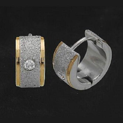 Titanium Titan klappcreolen creolen criollos aretes señora bicolor circonita oro
