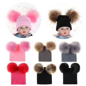6ce573bb5c3 Double Balls Pom Pom Baby Cute Hat Fur Ball Cap Girls Boy Knitted ...