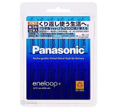 12 Panasonic Eneloop 1900 mAh AA Batteries 2100 Times Rechargeable NiHM Battery