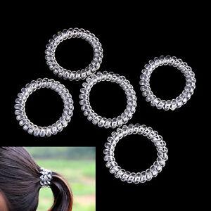 5X-Clear-Elastiques-Caoutchouc-Cheveux-Cravates-Spirale-Bandeau-Corde-FE