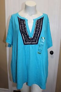 Northcrest-Aqua-Blue-Sequins-Layered-Look-Cotton-Knit-Top-T-Tee-shirt-Plus-2X
