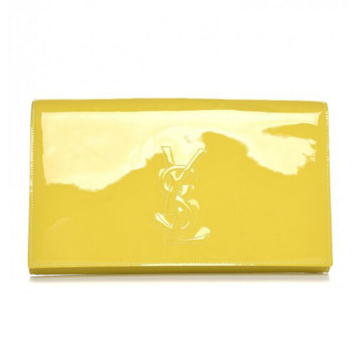 Jour jaune Citron Saint Ysl Pochette Verni Belle Cuir Laurent De 361120 ZwFBgH