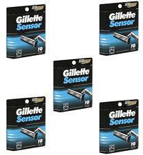 50 Gillette Sensor Razor Blade Refills Cartridges, 5 x 10 Pack
