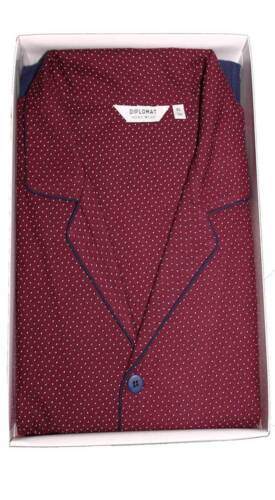 Pigiama Uomo Classico DIPLOMAT 100//100 Caldo Cotone Bordeaux Tg.varie Art.WO270