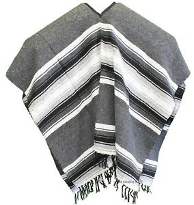 EXTRA WIDE Mexican PONCHO - Gray - ONE SIZE FITS ALL Blanket Gaban ... 19adbaf4c55a