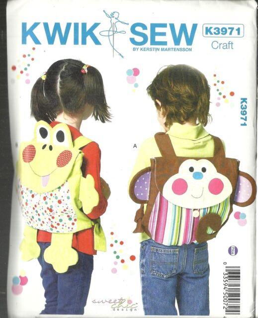 KWIK SEW K3971 CRAFT BY KERSTIN MARTENSSON ANIMAL BACKPACKS NEW & UNCUT PATTERNS