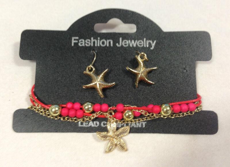 Bracelet & Earring Jewelry Set - Red Starfish