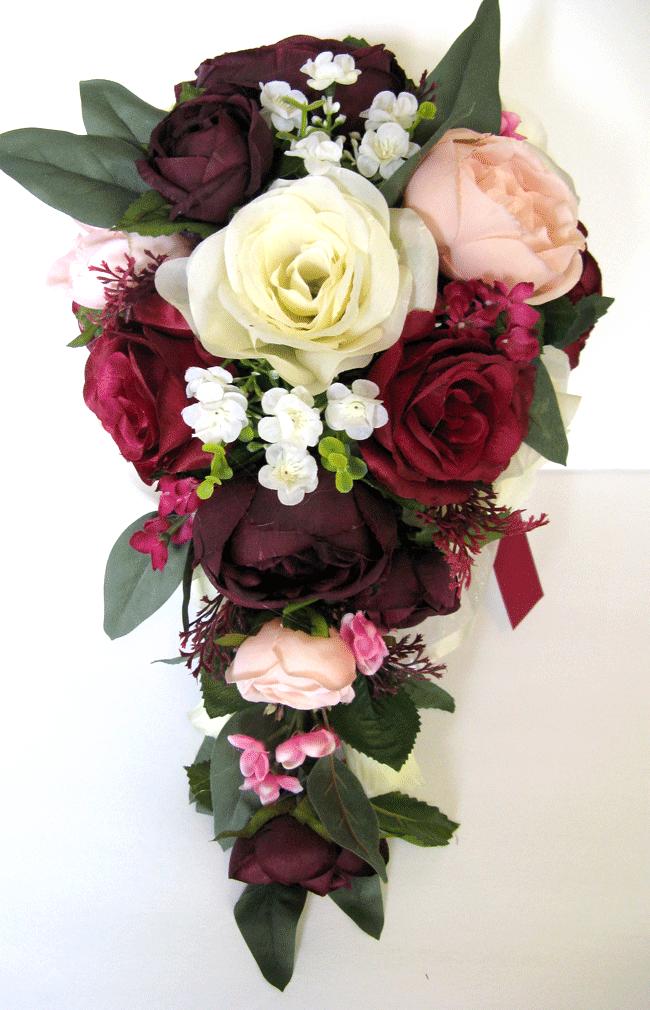 Mariage Bouquet 17 Pièce Paquet Ensemble nuptiaux fleurs de soie Bourgogne bleush aubergine