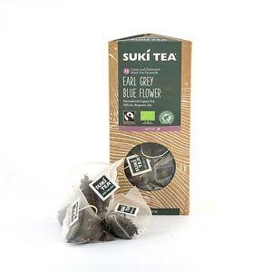 2-confezioni-da-15-Suki-Earl-Grey-Blue-Flower-ETICHETTA-PIRAMIDE-BUSTINE-di-te-Organico-Commercio