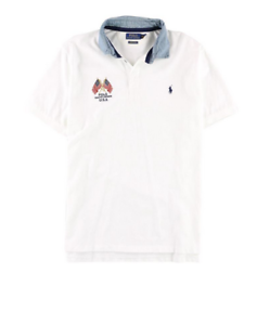 Polo Ralph Lauren Men's USA Flag Pony Short Sleeve Mesh Polo Shirt, White, XL
