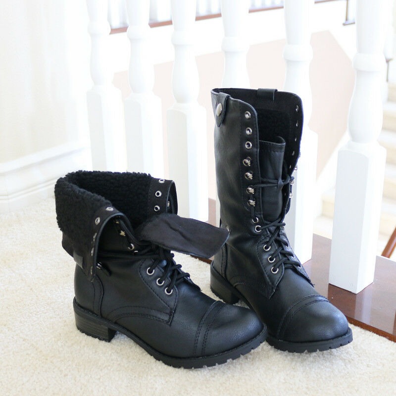 Army Chic Distressed Lace-up Fold-over Fleece Lining Combat Mid-Calf Boots Black