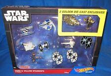 Hot Wheels Star Wars Hero & Villain Starships 11 Pack Set W/ 2 Golden DGN52 NEW