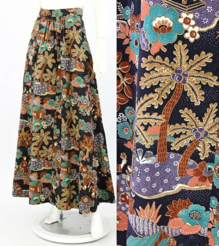 70s Vintage Victor Costa Asian Novelty Print Maxi