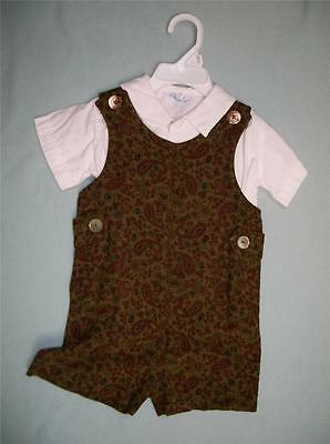 vintage childs infant outfit white shirt jumper romper sz 12 month? paisley 60s