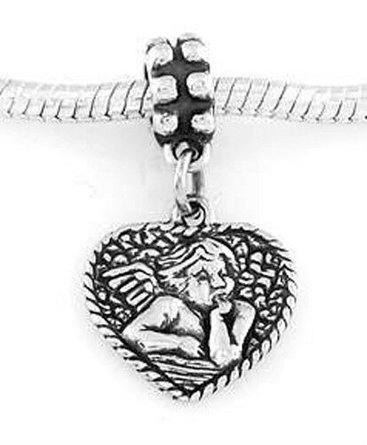 Silver Dangle BABY ANGEL HEART//Angelot Coeur Perle Européenne