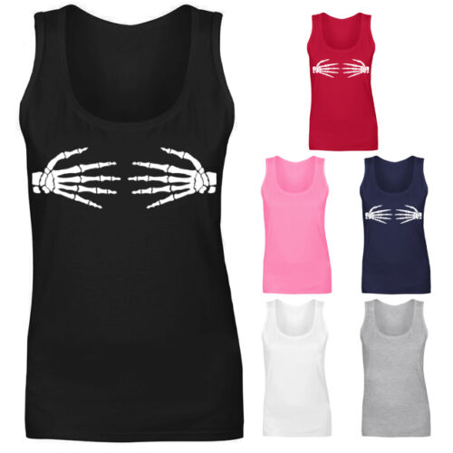 Womens Skeleton Bone Hands Vest Tank Top NEW UK 8-18