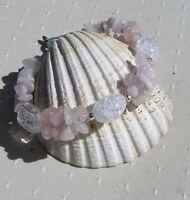 Pink Morganite & Crackled Clear Quartz Crystal Gemstone Bracelet rose Dew