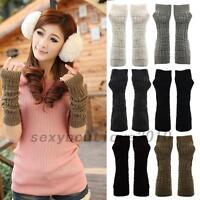 HOT Winter Women Girls Elbow Gloves Long Arm Fingerless Knitted Warmer Mittens