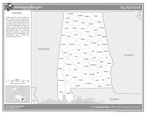 Alabama State Counties (Black&White) Laminated Wall Map