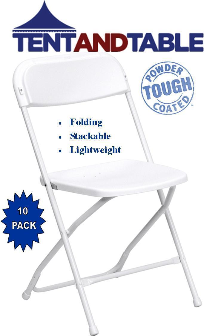 10 blanca comercial pl stico plegable silla sillas del for Sillas de plastico