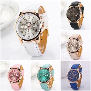 Armbanduhr römische zahlen  Mode Luxus Damenuhr Armbanduhr Lederarmband Analog Quartz Uhren ...
