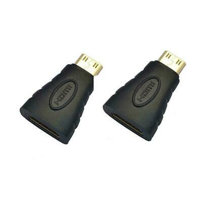 2pc Mini HDMI Male Type C to Female Type A Adapter Connector for 1080p 3D TV