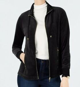 NEW-Charter-Club-Women-039-s-Velour-Sport-Jacket-in-Deep-Black-Size-S-or-M-MSRP-69