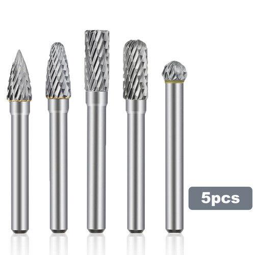 "5pcs 1//4/"" Double Cut Tungsten Steel Carbide Rotary Burr Drill Grinder Shank Bit"