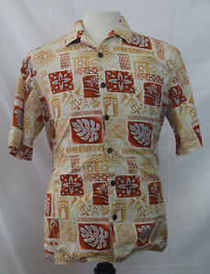 hilo-hattie-mens-hawaiian-shirt-size-M-beige-floral-tribal-aloha-short-sleeve