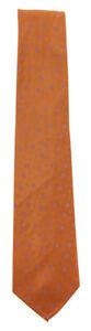 """Finamore Napoli Orange Floral Silk Tie - 3.25"""" x 58"""" - (9E)"""
