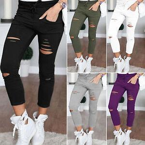 Femme-Decontracte-Dechire-Genou-Trou-Pantalon-Jeans-Taille-Haute-Elastique-Fin