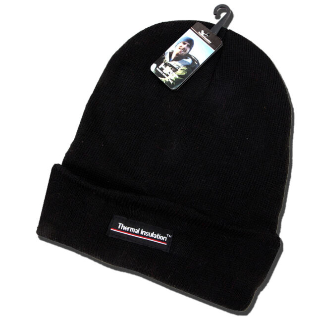31db95c6a1c Thermal Hat Boys Mens Fleece Lined Black Knitted Insulated Beanie Winter  Ski Cap
