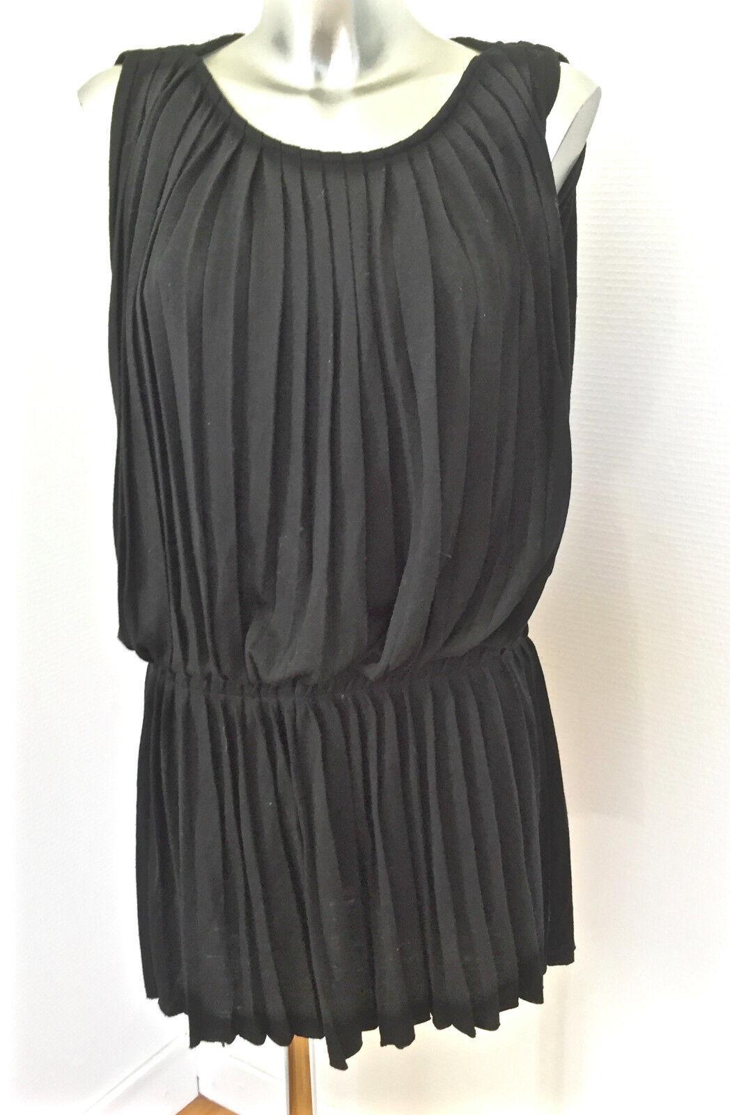 MAJE modello empire bel vestito senza maniche di lana nero taglia S