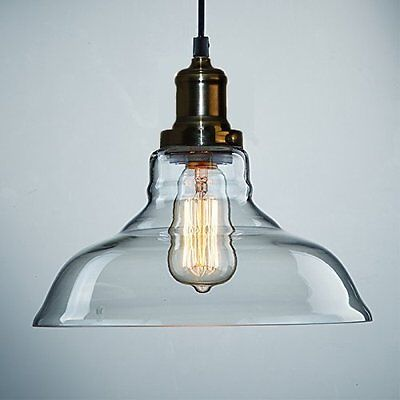 Retro Vintage Style Ceiling Lamp Pendant Clear Glass Shade Bulb with B22 Fitting