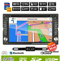 Double 2DIN In Dash GPS Car DVD CD Player Bluetooth Stereo Radio iPod USB/SD+Map