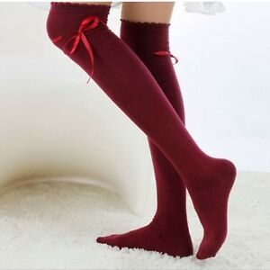 Women-Cotton-High-Socks-Thigh-High-Hosiery-Stockings-Wine-Red-Bow-Over-The-Knee