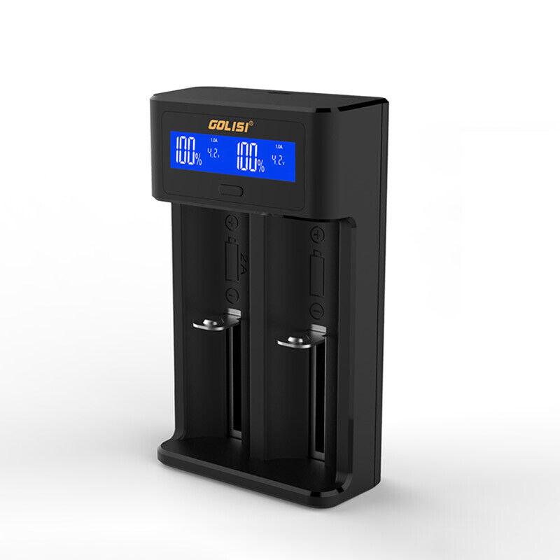 GOLISI i2 2 slots 2.0A Smart LCD Rechargable Battery Charger Li-ion 18650 AA AAA