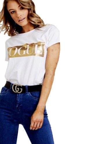 Women/'s Gold Foil Vogue Slogan Printed Casual Short Sleeve T Shirt Top Size 8-26