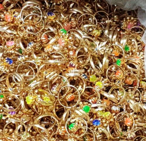 12pcs Gold Gem Rings Girl kids Party Favor Pinata toy souvenirs giveaways gadget